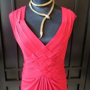 Tadashi Shoji Red Full Length Dress Sz XL